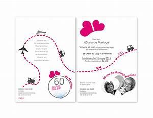 Faire Part Anniversaire 60 Ans : faire part anniversaire de mariage id es cadeaux ~ Melissatoandfro.com Idées de Décoration