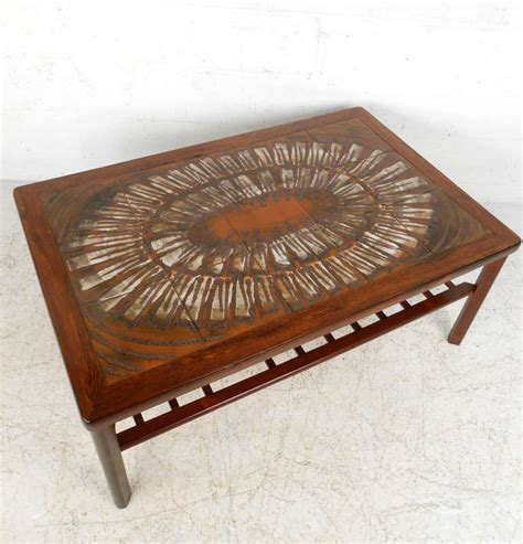 tile coffee table mid century modern rosewood coffee table w painted tile