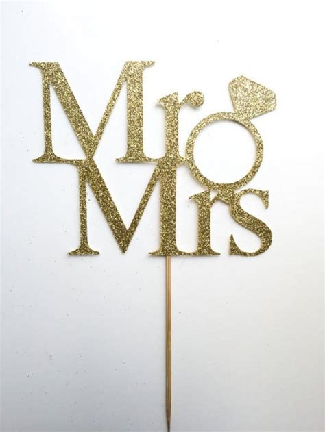 Gold Mr Mrs Cake Topper Mr And Mrs Cake Topper Wedding