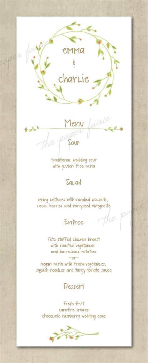 shabby chic wedding menu ideas wedding menu vintage floral simple boho shabby chic printable