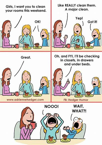 Mom Humor Cartoons Funny Parenting Hedger Cleaning