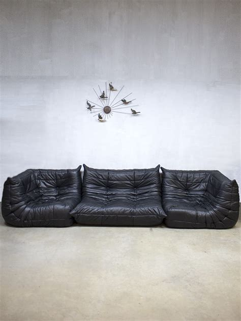 midcentury vintage design leren lounge bank sofa togo