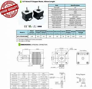 Nema 17 Stepper Motor  Pack Of 2  3    Custom Cables  U0026gt  Jjrobots