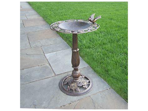 oakland living tea rose cast aluminum bird bath in antique