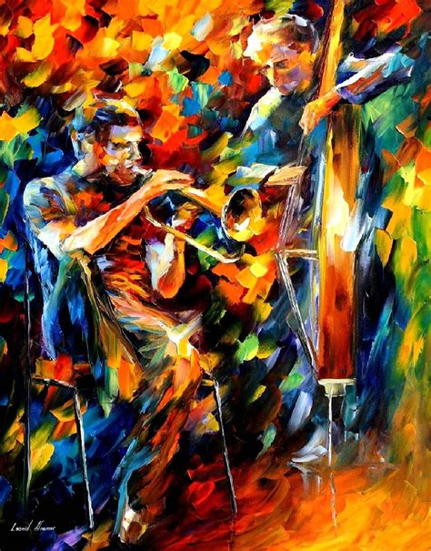 JAZZ DUO — PALETTE KNIFE Oil Painting On Canvas Art By ...