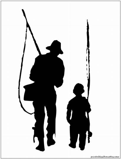 Silhouette Fishing Fish Boy Father Son Svg