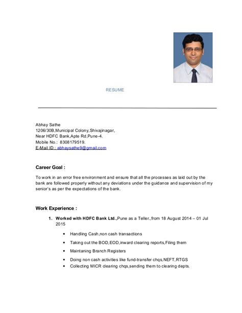 Upload Resume For In Hdfc Bank by Resume Abhay Sathe