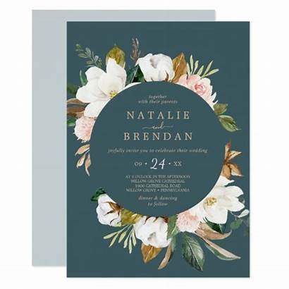 Magnolia Invitation Casual Elegant Teal Invitations
