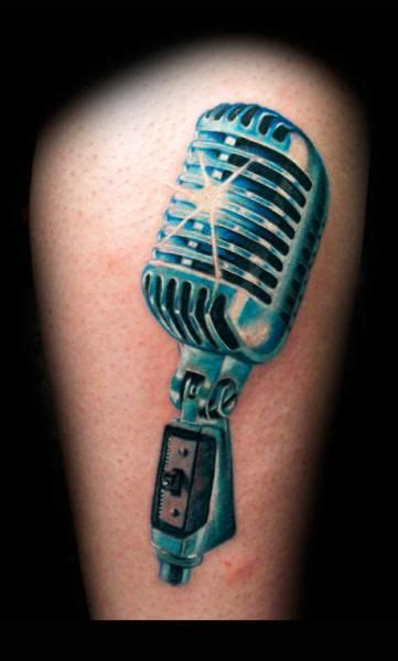 unique microphone tattoo designs