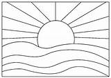 Coloring Sunset Simple Pdf Printable Craft sketch template