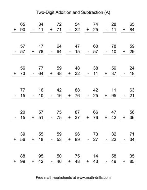 the adding and subtracting two digit numbers a math worksheet from the mixed operations