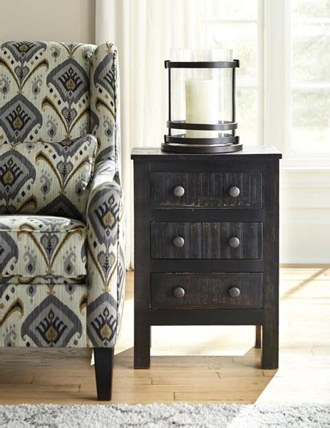 Black And White Nightstands by Charlowe Vintage Casual Black White Wash Blue 3 Drawer