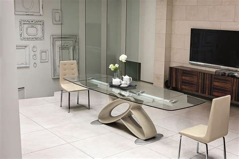 tavoli di cristallo sala da pranzo tavolo allungabile con piano in vetro per sale da pranzo