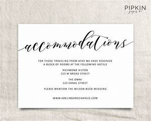 wedding accommodations template printable accommodations With wedding invitation insert with accommodations