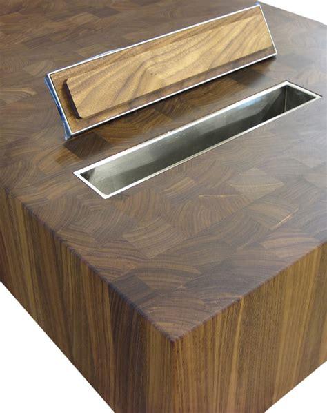 wood countertops  trash holes  grothouse