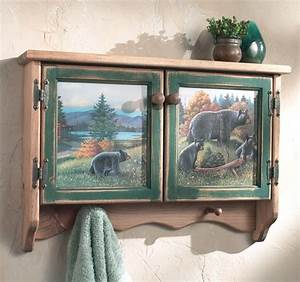 Black bear lodge wall cabinet for Kitchen cabinets lowes with black bear wall art