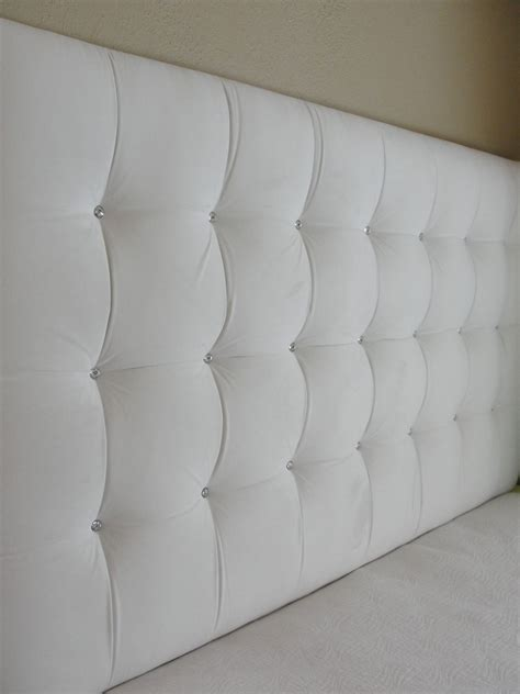 Tall White Velvet Square Tufted Upholstered Headboard Wall