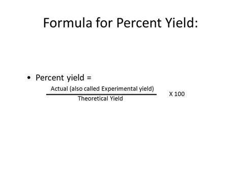 The Gallery For > Percent Yield Formula