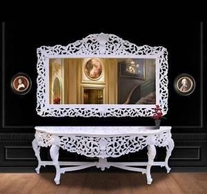Riesige Casa Padrino Barock Spiegelkonsole Wei Mit Weier