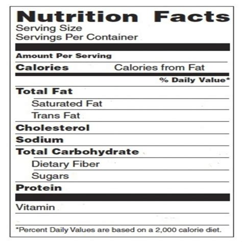 blank nutrition label template word printable label