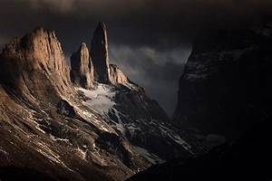 Mountain, Clouds, Dark, Chile, Torres, Del, Paine, Cliff, Snowy, Peak, Nature, Landscape, Wallpapers