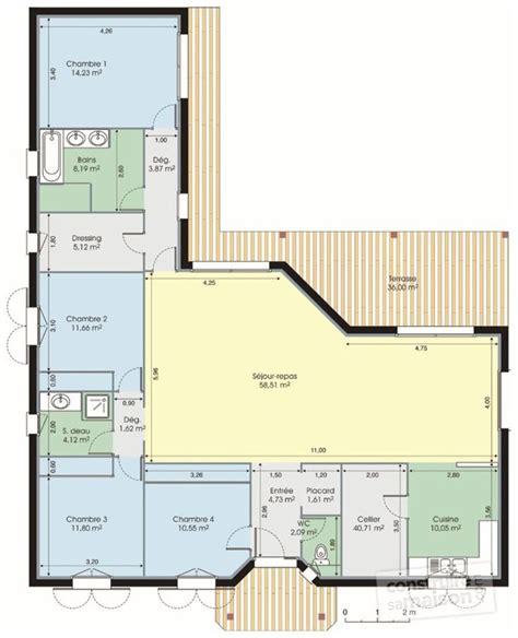 plan de maison plain pied 4 chambres gratuit plan maison en l plain pied 4 chambres 12 plans 233tage