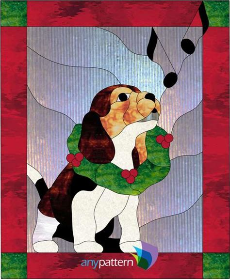 christmas puppy stained glass pattern anypatterncom