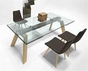 Table Plateau Verre Pied Bois : toronto table rallonge en verre 160 210 260 x 100 cm pieds bois ~ Melissatoandfro.com Idées de Décoration