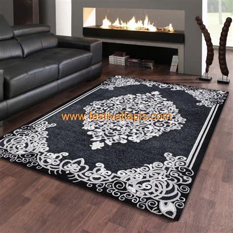 bureau noir laqué pas cher tapis baroque effet 3d motif noir gris jericho 5