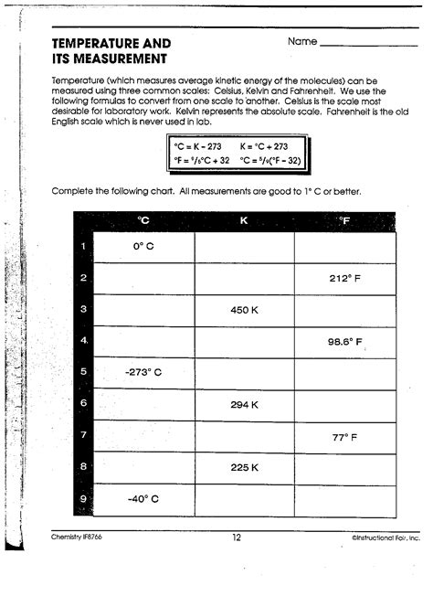 temperature and its measurement worksheet answers chemistry ib mr phelps big rapids hs