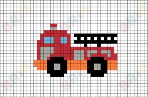 fire truck pixel art brik