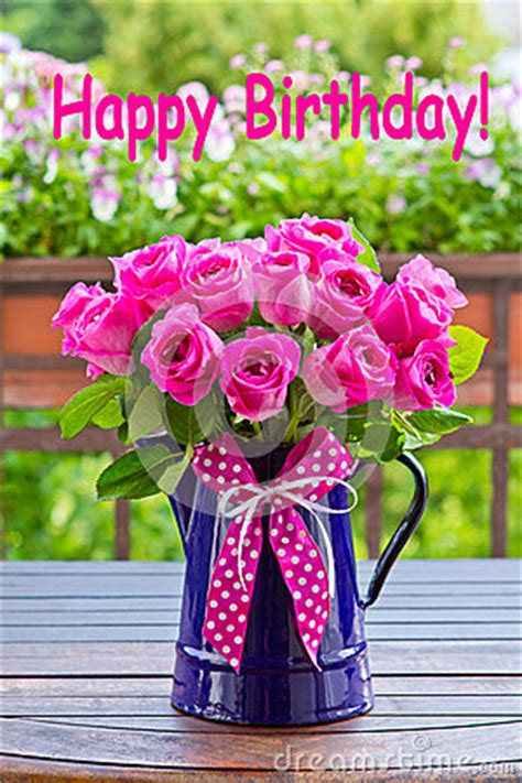 rose bouquet text happy birthday stock photo image