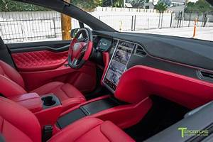 Tesla Model X Custom Interior in Bentley Red with Matte Carbon Fiber Steering Wheel | Nyc ...