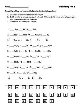 balancing chemical equations worksheet part