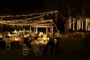 Backyard wedding in may with no dance floor for Outdoor wedding reception lighting