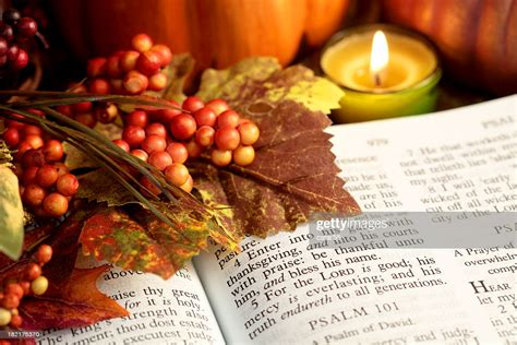 Share it in the comments below and encourage others in our community! Religious Thanksgiving Bible Scripture With Fall Leaves Berries Candle Stock Photo   Getty Images