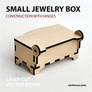 Wooden jewelry box with hinges Small Back view by