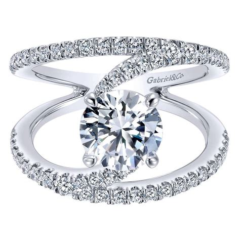 gabriel co engagement rings 14k white gold split shank