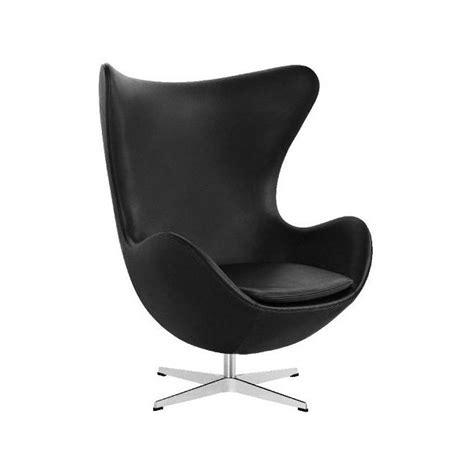 fauteuil design egg chair en cuir noir