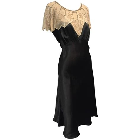 1920s deco black silk satin gatsby style dress w beaded caplet for sale at 1stdibs