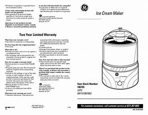 Warranty  Ice Cream Maker  Two Year Limited Warranty
