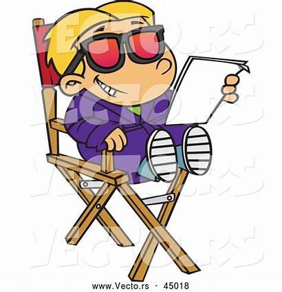 Chair Cartoon Actor Sitting Reading Script His