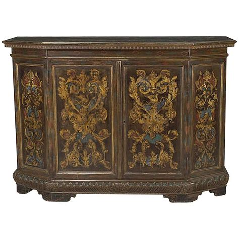 Painted Credenza by Italian Baroque Style Painted Two Door Credenza 19th