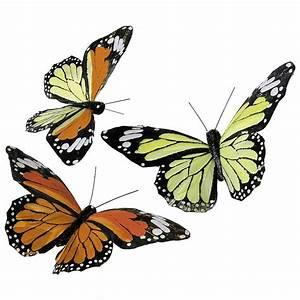 Schmetterlinge Als Deko : deko feder schmetterlinge 17 cm gelb orange dekoration ~ Lizthompson.info Haus und Dekorationen