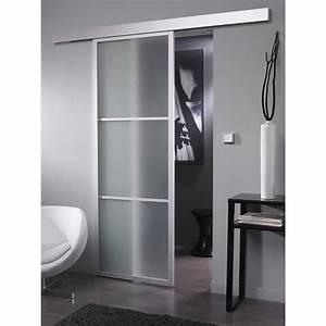 ensemble porte coulissante aspen aluminium avec le rail With porte de douche coulissante avec chaise salle de bain leroy merlin