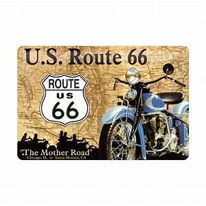 Route 66 En Moto : plaque en m tal 20 x 30 cm route 66 logo et moto deco envie com ~ Medecine-chirurgie-esthetiques.com Avis de Voitures
