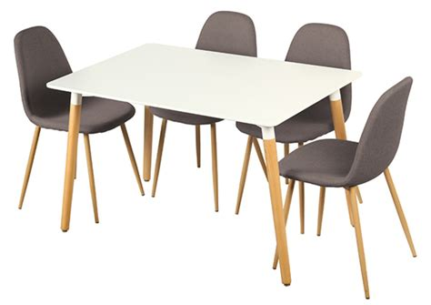 tables de cuisines table 4 chaises otis blanc chene
