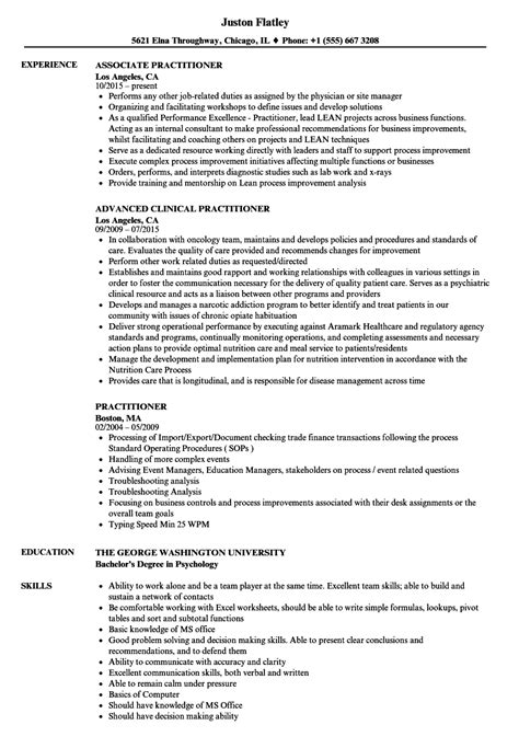 Practitioner Resume by Practitioner Resume Sles Velvet