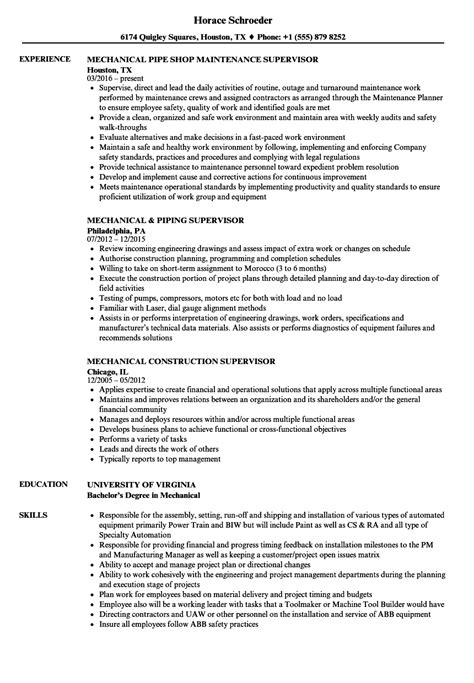 supervisor mechanical resume sles velvet