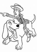 Toy Coloring Story Pages Woody Buster Dog Buzz Colouring Disney Slinky Sheriff Printable Woddy Riding Cartoon Sid Toys Sheets Boys sketch template